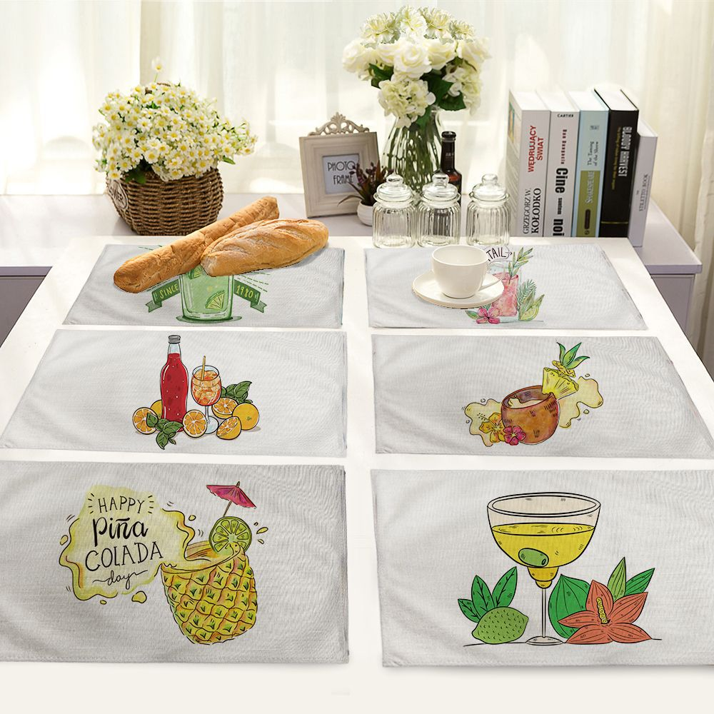 42*32cm Fruit cartoon doodle Cotton Table Napkins Polyester Dinner Cloth Hotel Table Napkins