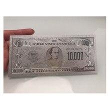 Srebrny ameryka 10000 dolar srebrna folia banknot dwustronnie drukowanie, waluta banknoty pieniądze papierowe do kolekcji
