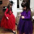 European & American Style Girls Full Sleeve Princess Dresses Kids Mesh Vestidos Flower Girls Dresses Autumn Children's Clothing