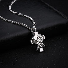 Fashion Antique Silver Alloy Cross and Angel Wings Necklace Keepsake Eternity Jewelry Statement Necklace(China)