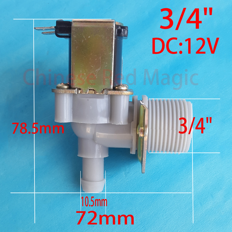 3/4 10.5mm DC solenoid coil 12 V electric solenoid Normally closed N / C Input water flow switch 0.02-0.8Mpa