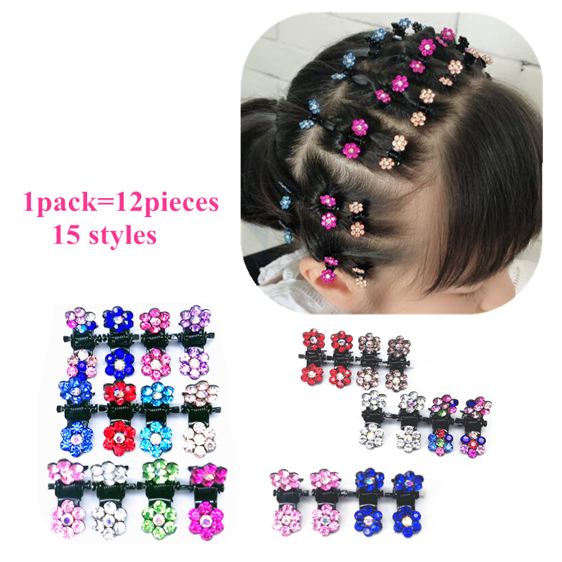 12PCS/pack Wedding Bridal Hair Claws children Mini   Headwear   Rhinestone Snowflake Hair Clips Flower Hairpins Hair Accessory