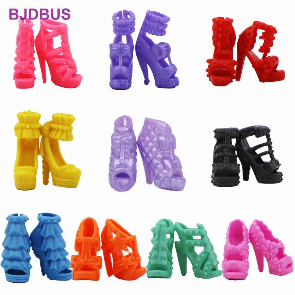 10 Pairs Colorful Shoes Mixed Style Assorted High Heels Sandals Outfit Dress Clothes Accessories For Barbie FR Kurhn Doll Toy 1set fashion doll shoes cute colorful assorted shoes high heel sandals for barbie doll outfits dress accessories girls gift