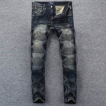 Fashion Vintage Men Jeans Italian Style Slim Fit Ripped Jeans Men Distressed Pants Embroidery Designer Streetwear Hip Hop Jeans
