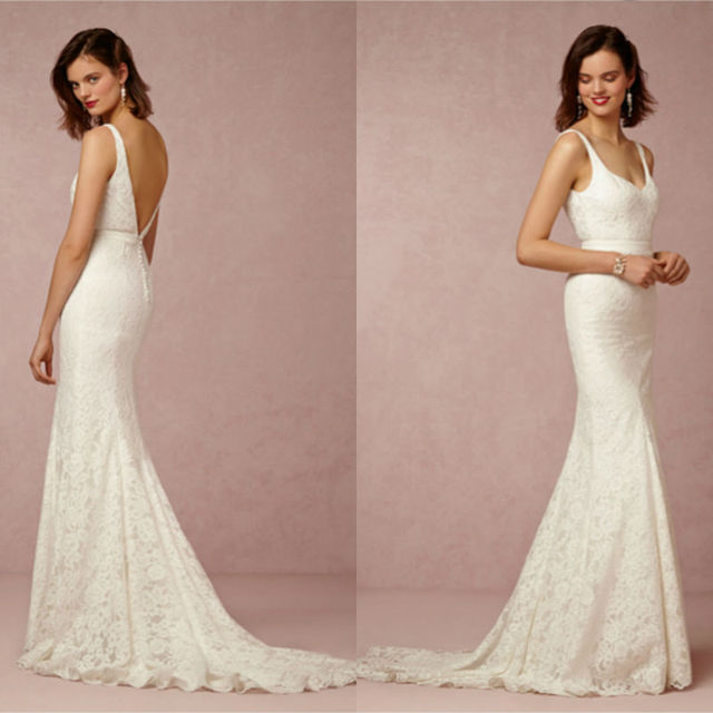 Sexy Deep Low Cut V Back Mermaid Lace Vintage Wedding Dresses Bridal Gowns  Free Shipping 6e4f4968c464