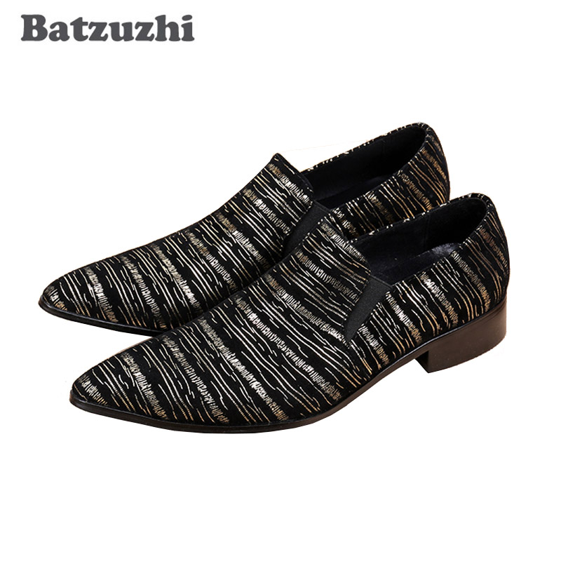Batzuzhi Luxury Leather Shoes Men Personality Pointed Shoes Men Dress Shoes Leather Black/Blue Oxford Shoes for Men Zapatos fashionable personality cardigan for men black white navy blue size xl