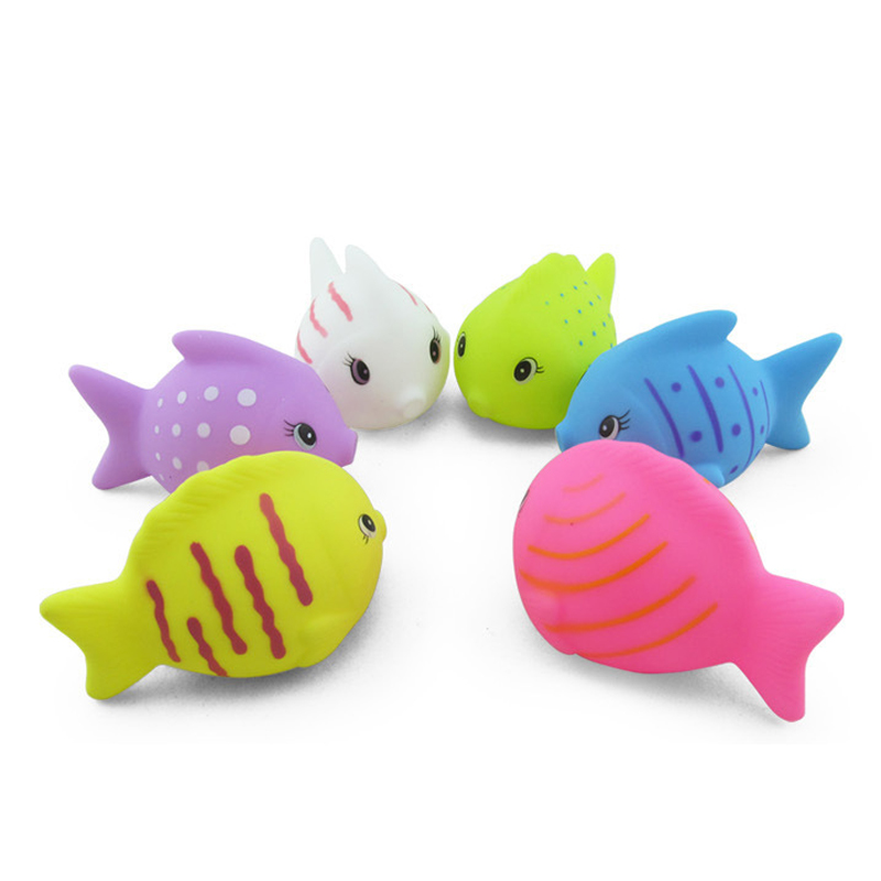 6pcs/lot Baby Bath Water Toys12-24 Months Rubber Tropical Fish Squeeze Sound Beach Bathroom baby Toys 6*9CM
