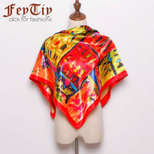 2017 New Brand Women Red Fashion Square Satin Scarves Painting Buildings Big Size Head Beach Shawl Head Hijab 90cm*90cm