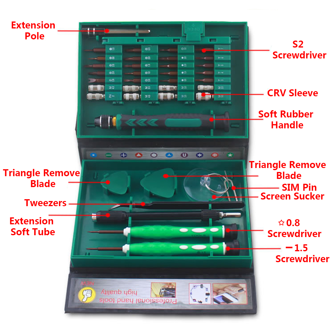 Best Multifunction 38 in 1 Precision Screwdriver with Disassemble Tool and Plastic Storage Box for Mobile Phone / Laptop Repair