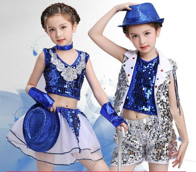 new product ce0af 4c71a US $17.44 7% di SCONTO|Vestiti Prestazione Della Fase di Ballo dei bambini  Della Ragazza del Ragazzo Paillettes Jazz Costumi di Danza per Bambini ...