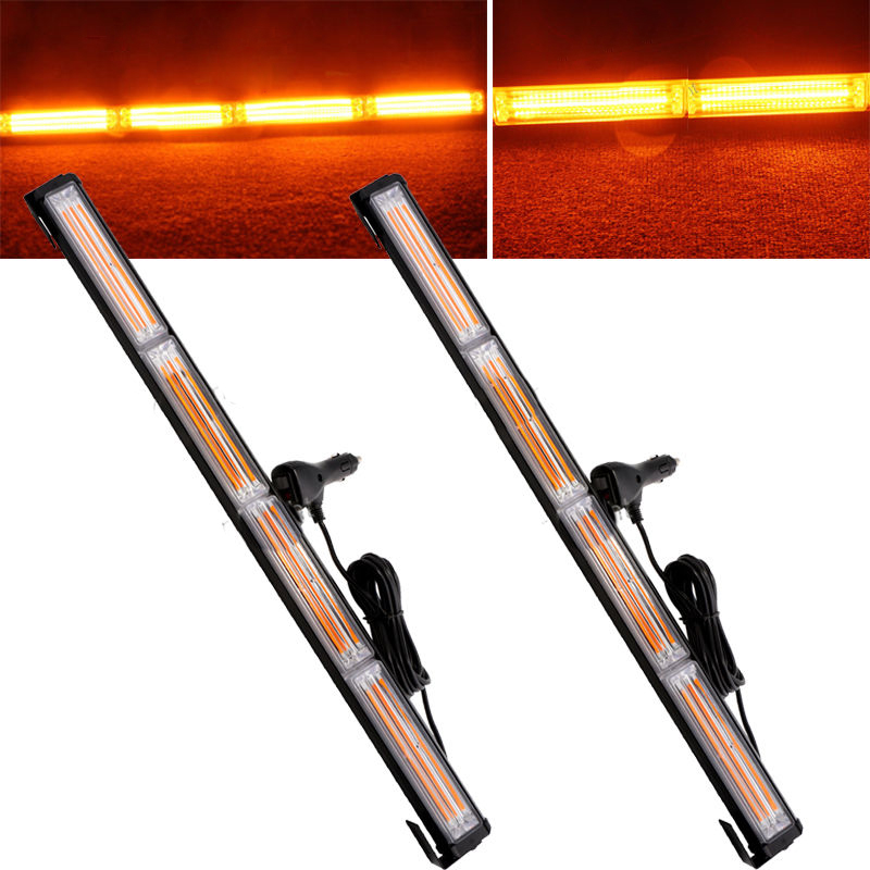 2xYellow 72W COB LED Car Truck Beacon Flash Emergency Warning Light Bar 12V 24V