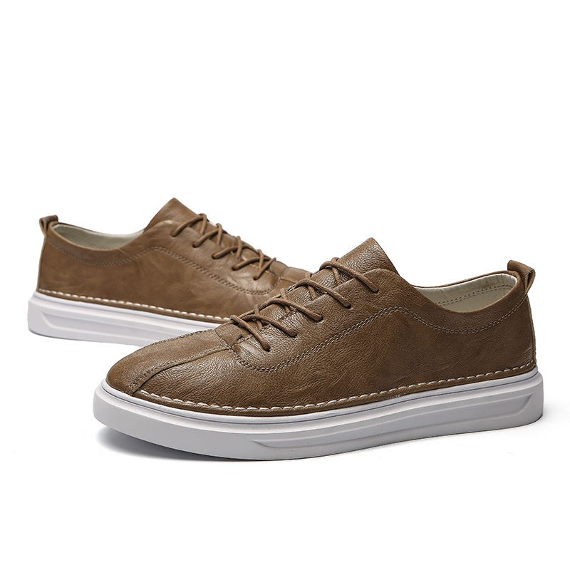 2019 LAISUMK Brand Hot Sale Shoes Men Spring and Autumn Leather Male Adult Lace Up Breathable Fashion Mens Casual Sneakers in Men 39 s Casual Shoes from Shoes