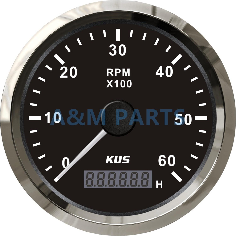 KUS Marine Tachometer Gauge With LED Hourmeter Boat Truck Car RV Waterproof RPM Tacho Meter 6000