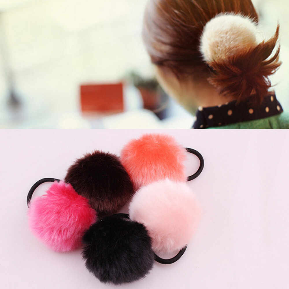 New Hot Fashion Hairband 1PX Rabbit Fur Hair Band Elastic Hair Bobble Pony Tail Holder Gifts Hair Care Wholesale & Drop Shipping