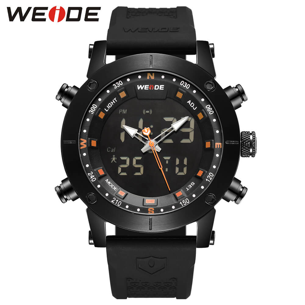 WEIDE luxury original Genuine LCD digital Sport fitness watch alarm clock men Silicone Back Light Analog Quartz watches box 6309
