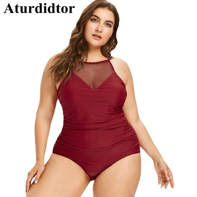 9cf920d56645a Plus Size Swimsuit One Piece Swimwear Women Tummy Control Bodysuit Sexy  Mesh Transparent Patchwork Bathing Suit Black Red 4XL