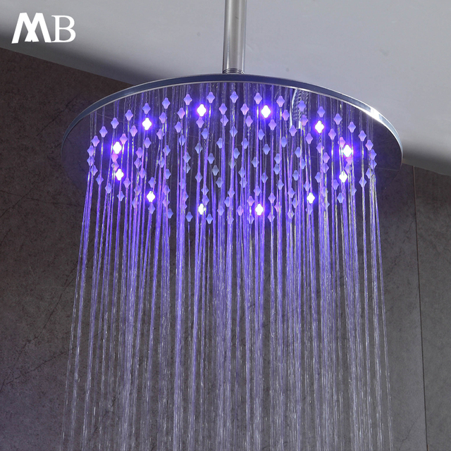 Round Bathroom Stainless Steel Rain Shower Head 12 Inch  Shower Chrome  Sprayer LED Rainfall Showers Water Temperature Control