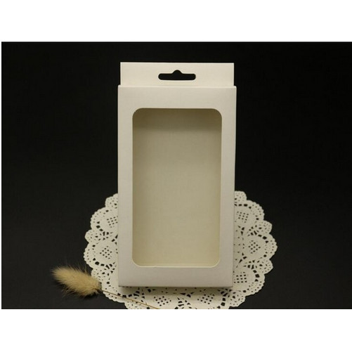 15.6*9*2cm Blank white paper boxes with clear PVC window,clear window card packaging gift box