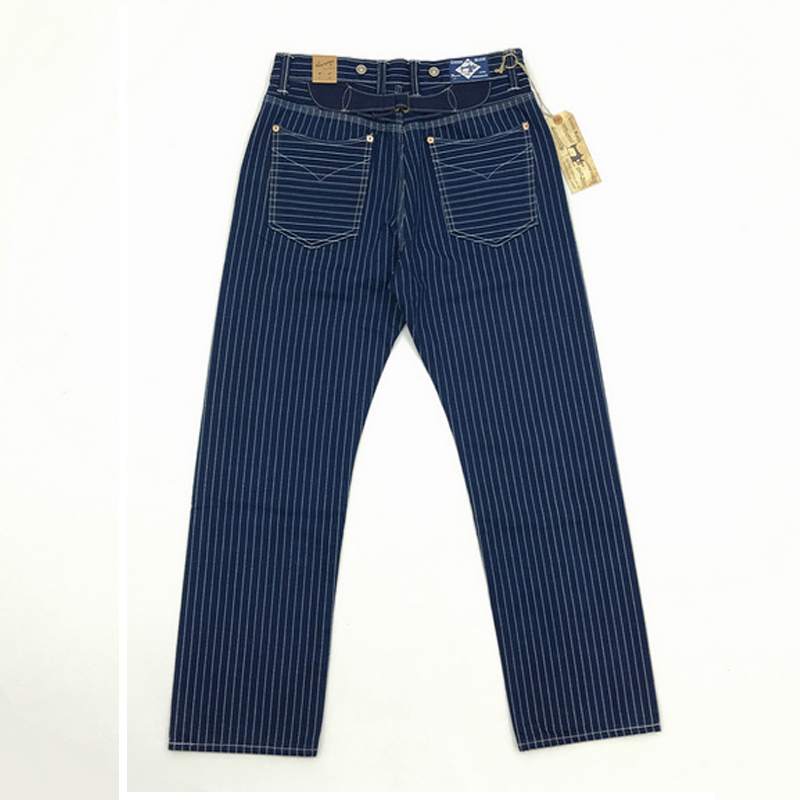 BOB DONG 20-30's Wabash Indigo Pants Railroad Striped Work Trousers Selvage Cargo Straight Pants 12.5oz Vintage Bottoms W36