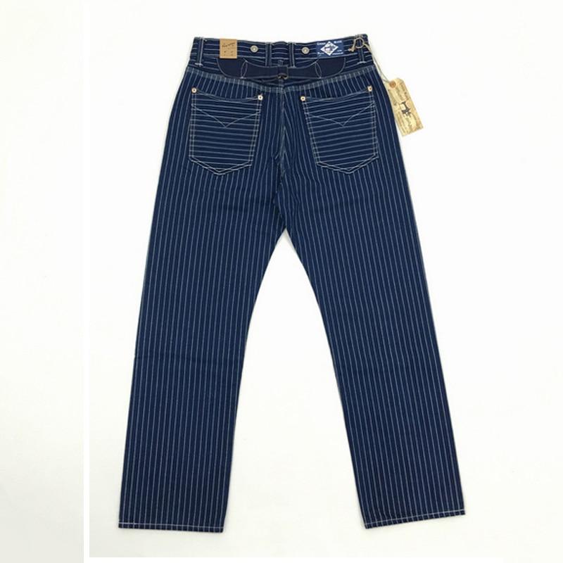 BOB DONG 20-30's Wabash Indigo Pants Railroad Striped Work Trousers Selvage Cargo Straight Pants 12.5oz Vintage Bottoms W36