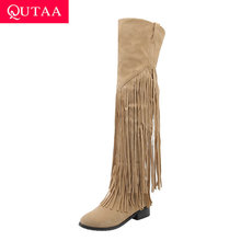 QUTAA 2020 Scrub Tassel Over The Knee Boots Round Toe Casual Winter Women Shoes Square Low Heel Thigh High Boots Big Size 34-43