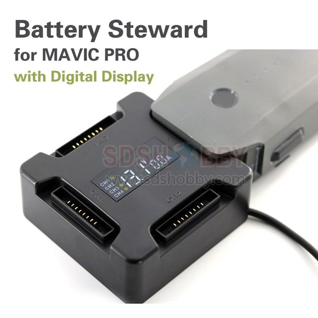 Battery Steward Parallel Charging Board Charger Adapter with Digital Display for DJI MAVIC PRO