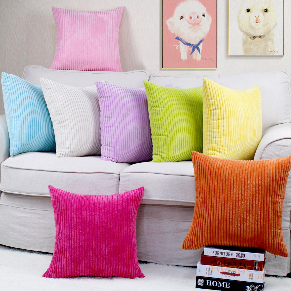 Cushion Pillowcase Decoration Wind-Sofa Nordic Solid-Color Corduroy Household-Items FASOTY