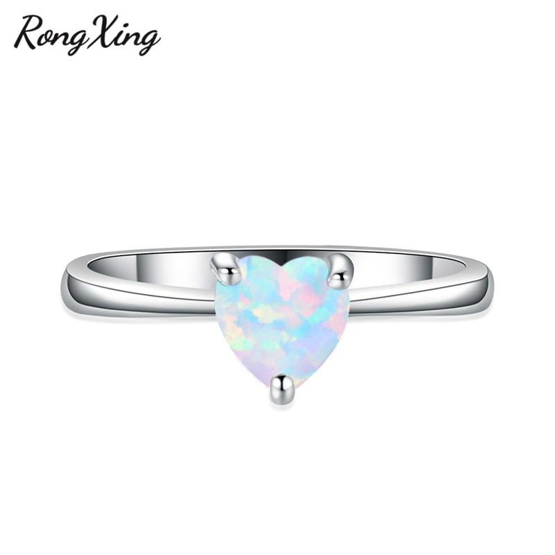 RongXing 925 пробы заполненный серебром браслет с сердцем из опала камень кольца для женщин Винтажная Мода фиолетовый/красный/синий/кольцо с зеленым Цирконом подарок - Цвет основного камня: White Opal