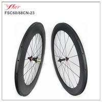 V shape cheap clincher wheelset 60mm 88mm deep 23mm wide full carbon fiber toray road wheelsets 20H 24H high TG braking track