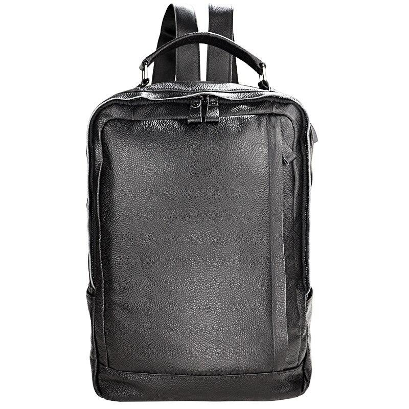 Męski plecak biznes podróży wodoodporna torebka prawdziwa miękka skóra bydlęca prawdziwej skóry torba na komputer pracy szkoła laptopa czarny w Plecaki od Bagaże i torby na  Grupa 1