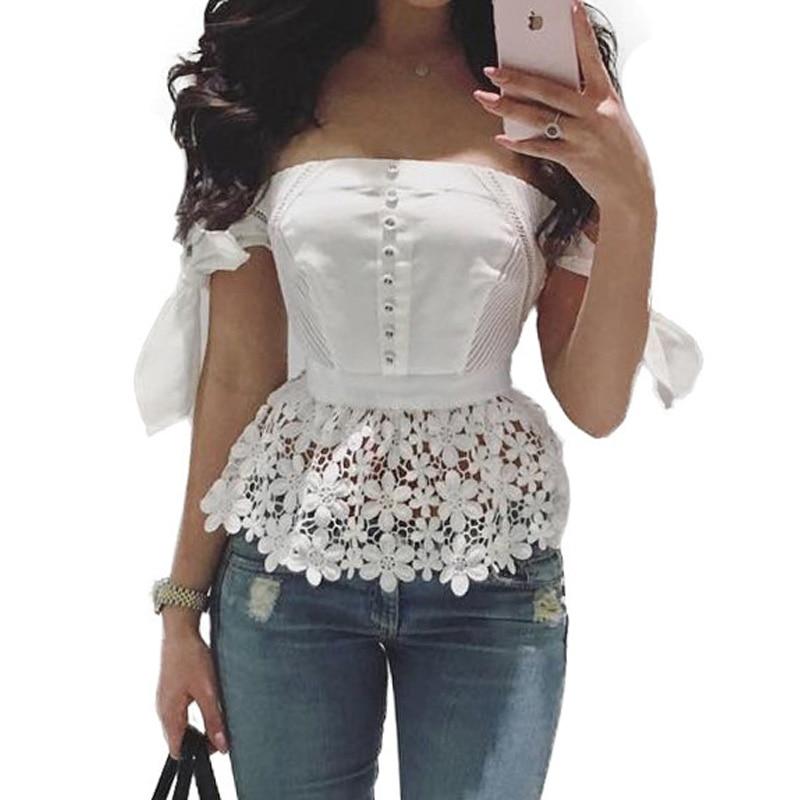 Women White Slash Neck Blouse 2018 Summer Womens Short Sleeve Crop Top Sexy Lace Crochet Shirt Ruffle Neck Off Shoulder Blusas