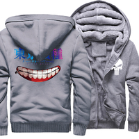 Fashion Hoodies For Men 2017 Winter Fleece High Quality Sweatshirts Print Anime Tokyo Ghoul Street Style