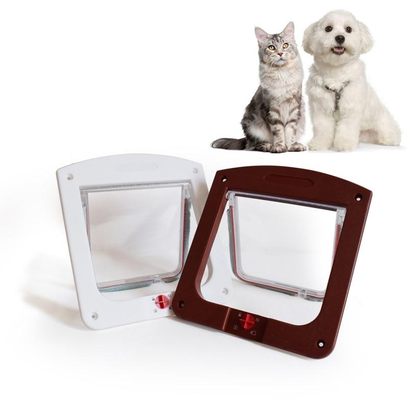 Pets Gate 4 Way Lockable Dog Cat Kitten Puppy Door No-toxic Security Flap Door For Small Dogs Dog Accessories Pet Supplies