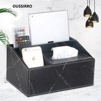 OUSSIRRO Fashion Tissue Box Multi functional Napkin Holder PU Leather Remote Controller Storage Box Desk Organizer