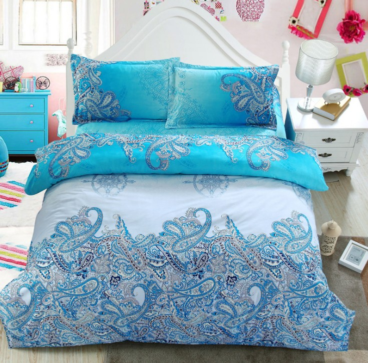 Turquoise Paisley Bedding Set Green Blue Duvet Cover Bed