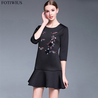 Plus Size Dresses For Women 4XL 5XL High Quality Luxury Bead Runway Dresses Autumn Vintage Black