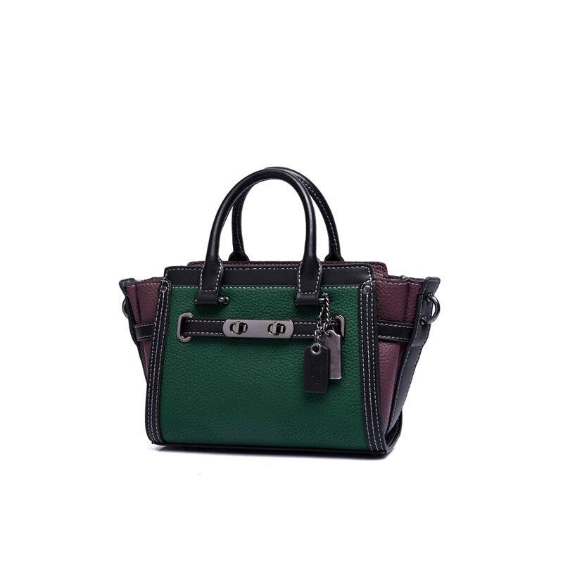 Women Contrast Color font b Handbag b font Fashion Thin Chain Shoulder Strap Green Bag Ladies