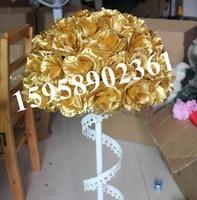 SPR GOLD wedding kissing ball 50cm wedding artificial silk flower ball plastic inner 1pc=2pcs half balls