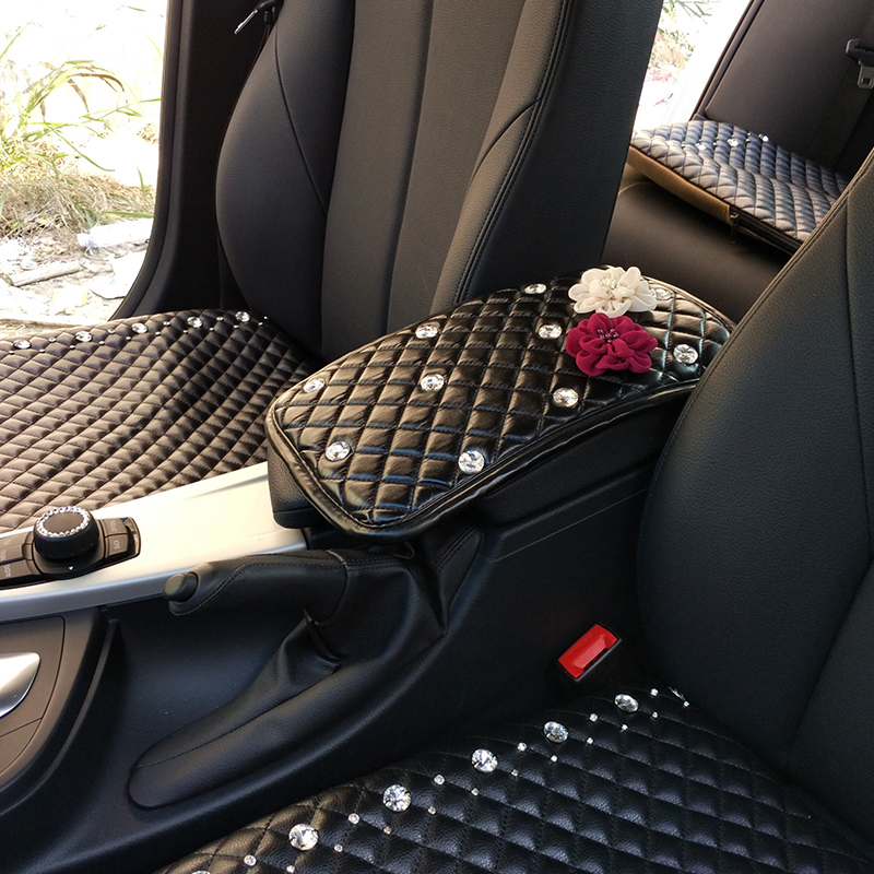 Flower crystal diamond car auto armrests covers vehicle