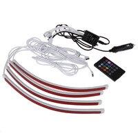 VODOOL Car Styling 7 Kolorów RGB LED Strip Światła Atmosfera lampa Auto Wnętrze Światło Bezprzewodowe Sterowanie Muzyką Zdalne/Samochód ładowarka