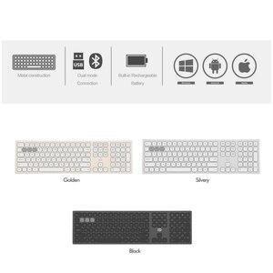 Image 3 - Alluminio senza fili della tastiera del metallo di 2.4Ghz & BT, 110 dispositivi a grandezza naturale di chiavi 3 che funzionano sincronicamente, tastiera del Desinger ergonomica