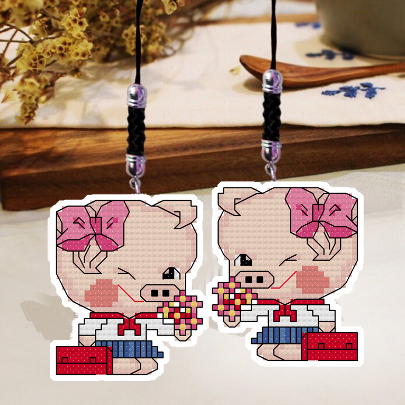 ZSMX13 Phone Key Bag Hanging Accessories Piggy Lady DIY Craft Needlework Embroidery Crafts Counted Cross-Stitching Kit