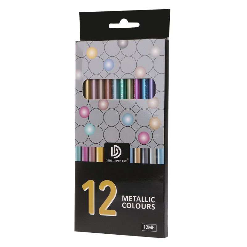12Pcs Metallic Non-Toxic Colored Drawing Pencils 12 Color Drawing Sketching Pencil