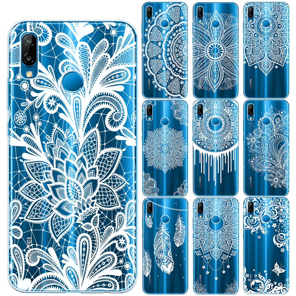 Lace Flower Soft TPU Cover For Huawei P8 P9 P10 P20 Lite P30 Lite Pro Mandala Floral Case For Capa Huawei <font><b>Mate</b></font> 10 <font><b>20</b></font> Lite Pro image