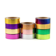1X 15mm*10m Gold Foil Washi Tape Silver/Gold/Bronze/Rose/Green/purple Color Japanese Kawaii DIYScrapbooking Tools Masking