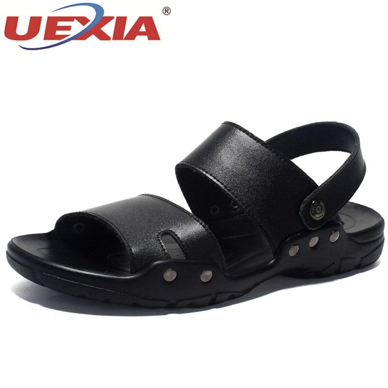 Cuir Hommes Chaussures Plage Pantoufles De Brown Sandalias Flops Casual black Sandales Marque Espadrilles Croûte Flip Uexia D'été TIBSqwdx8I