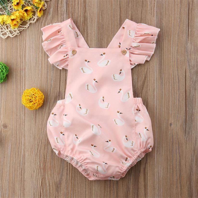 2019 Summer New Baby Girl Pink Bodysuit Cartoon Swan Cute Suspenders Overalls Jumpsuit Baby Clothing E8163