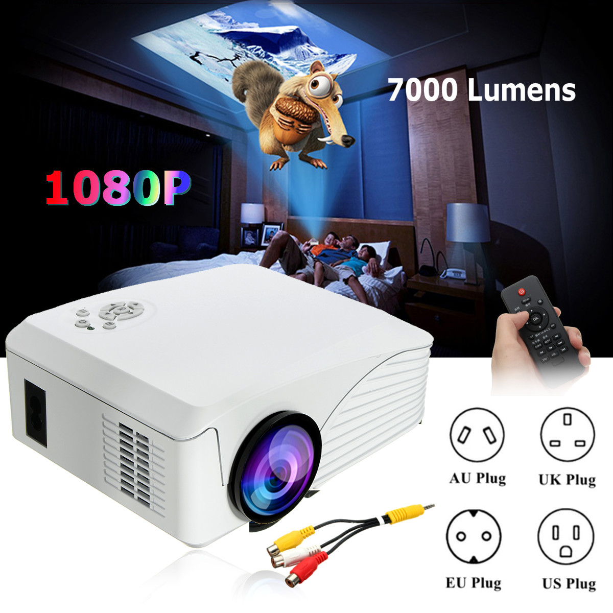 Portable 7000 Lumens HD 1080P 3D Multimedia Projector LED Home Theater USB With US Plug