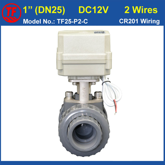 BSP/NPT 1'' PVC DN25 Electric Actuated Ball Valve TF25-P2-C DC12V CR201 Wiring 10NM On/Off 15 Sec Metal Gear For Water Control tf20 s2 c high quality electric shut off valve dc12v 2 wire 3 4 full bore stainless steel 304 electric water valve metal gear