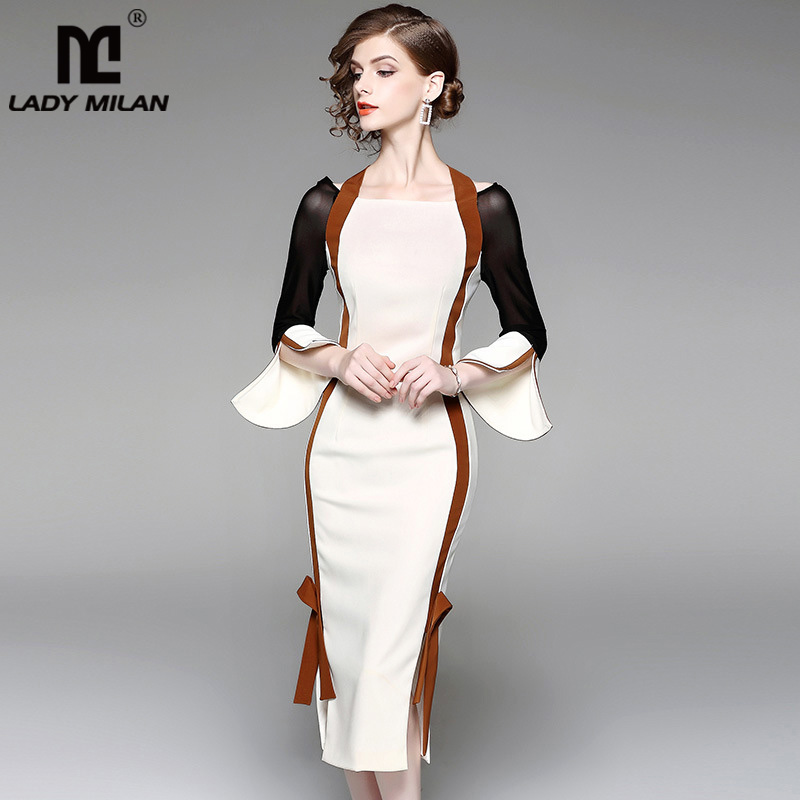 New Arrival 2018 Womens Halter Long Flare Sleeves Sexy Side Split Patchwork Fashion Mermaid Designer Dresses